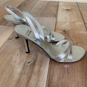 Stuart Weitzman Silver Slingback Bridal Sandals